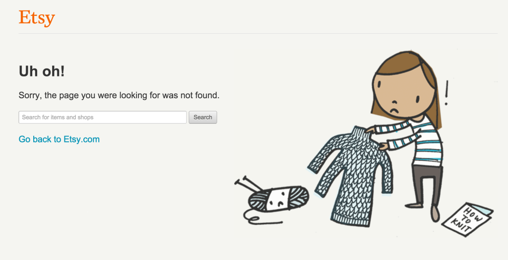 screenshot of etsy's error page featuring an illustration of a woman knitting a sweater with three arms