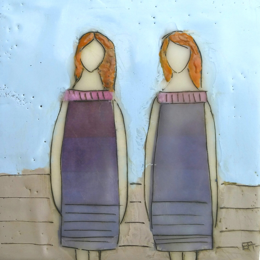 wax painting of two women
