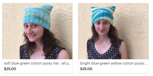 blue and green pussy hats for sale at KenspeckleGifts